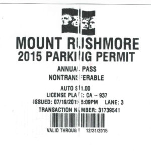 Mount Rushmore Parking Pass