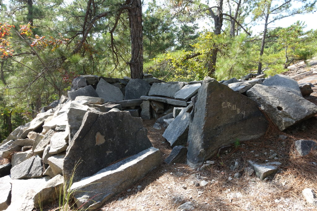 Sitting area likely made by quarry workers long ago at Stone Mountain