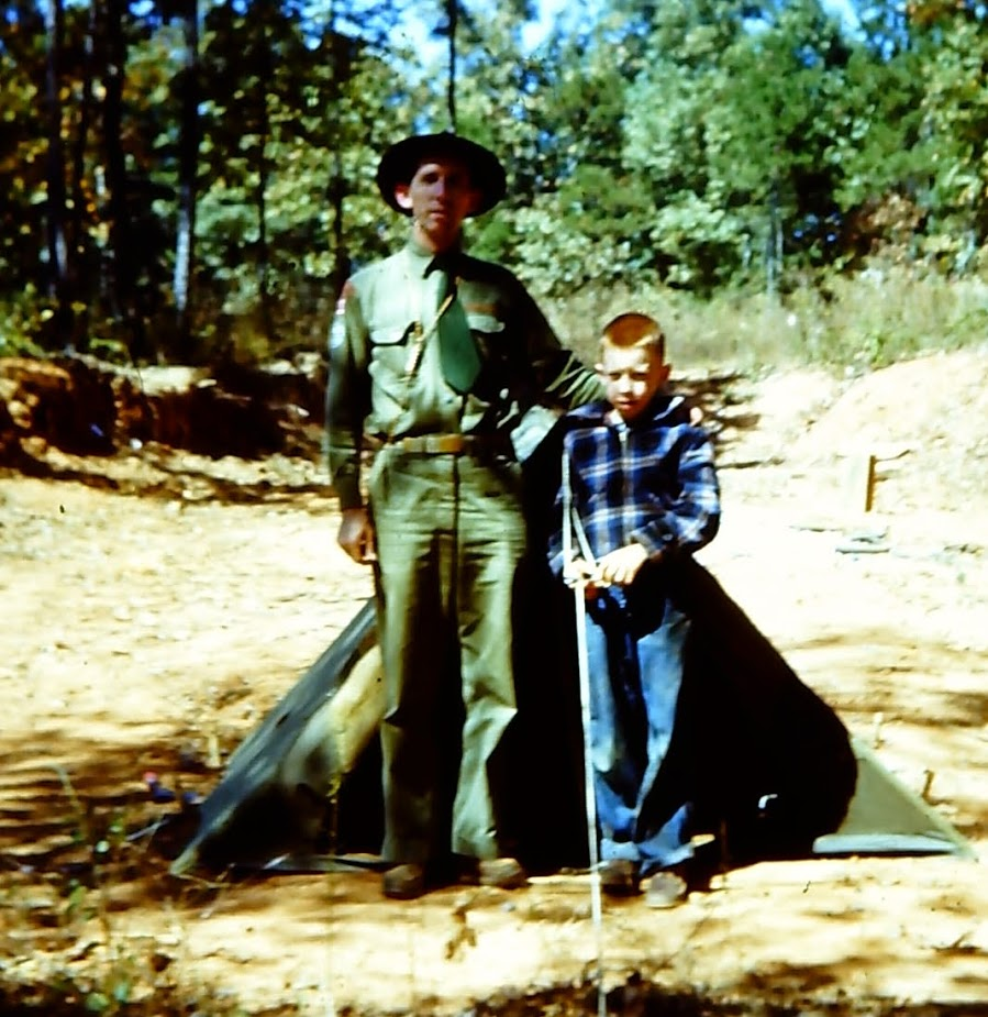 Father and son camping with the Boy Scouts