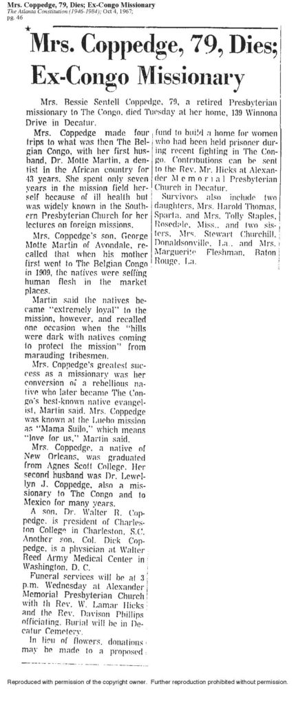AJC-10-04-1967-Bessie Sentell Coppedge-obituary