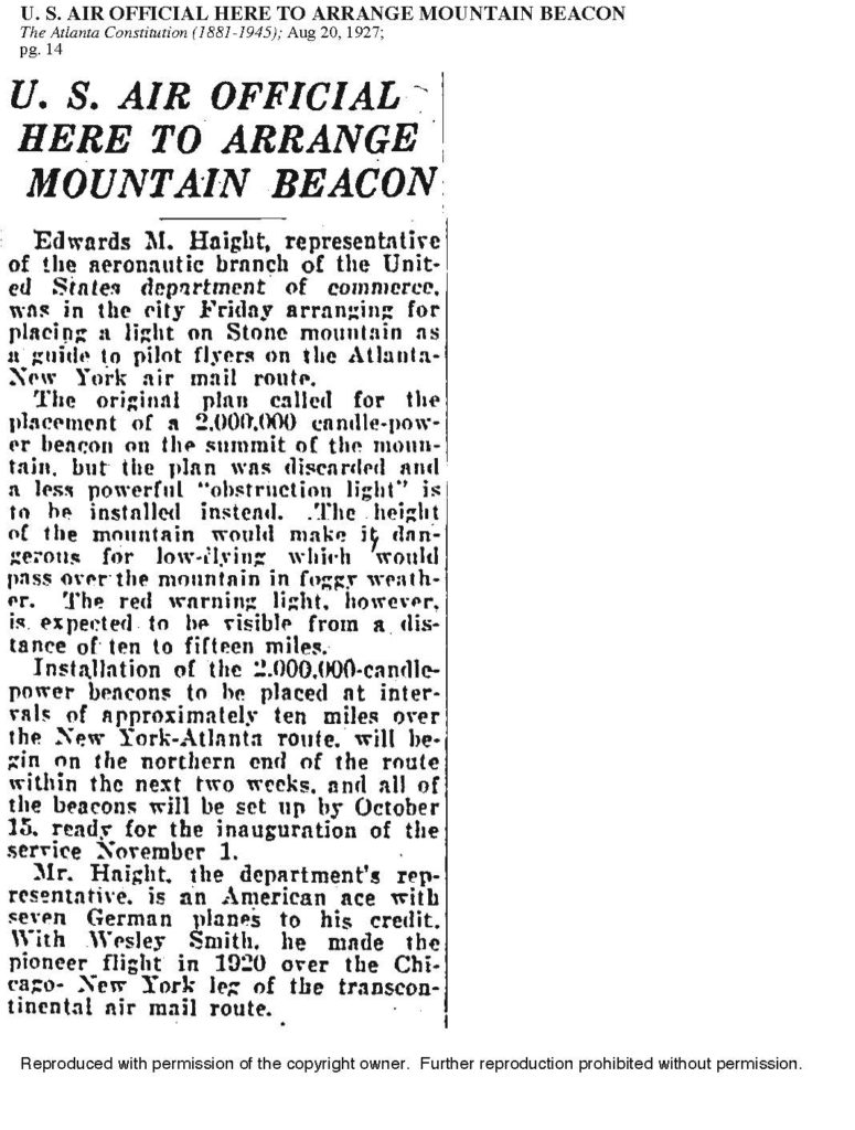 AJC-8-20-1927-U.S. Air Official Here to Arrange Mountain Beacon