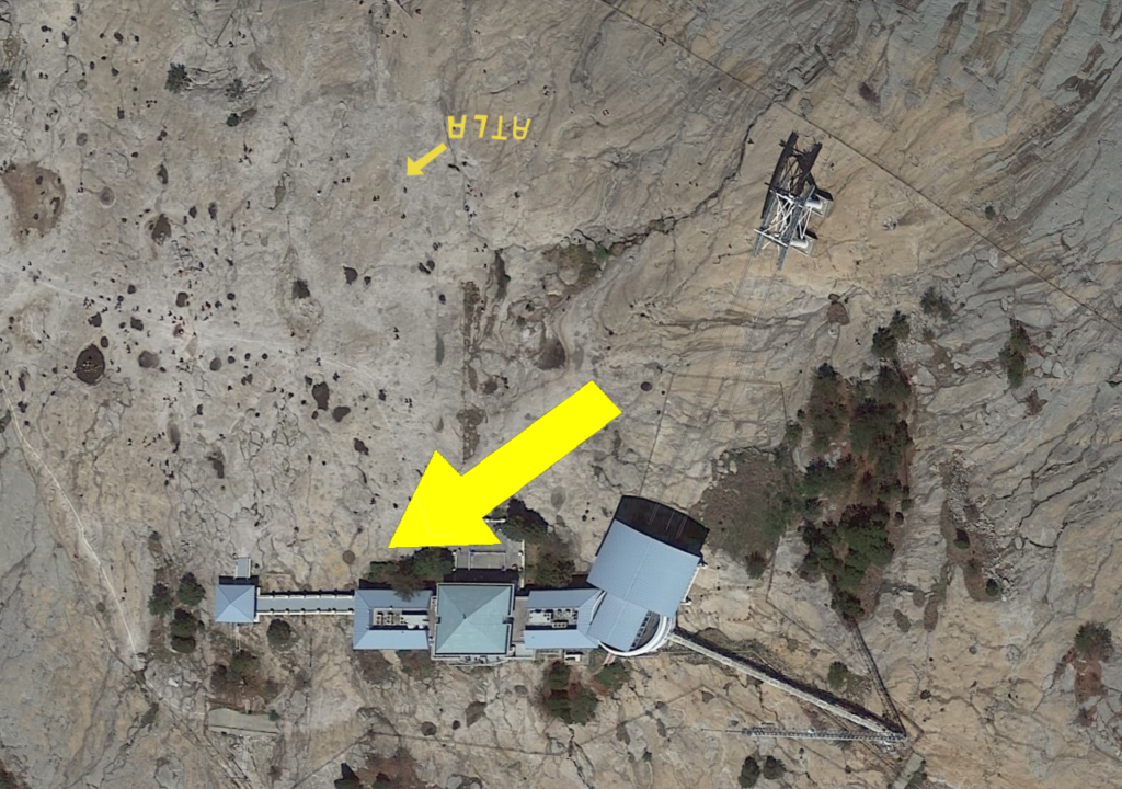 Locations of the fading flight arrows on top of Stone Mountain
